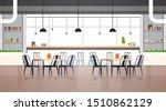 Stock vector modern cafe interior empty no people restaurant cafeteria design flat horizontal vector illustration 1510862129
