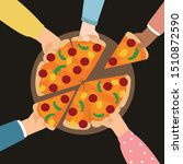 hand holding pizza and share... | Shutterstock .eps vector #1510872590