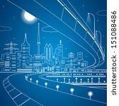 vector lines bridge and...   Shutterstock .eps vector #151088486
