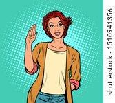 young woman gesture hello. pop... | Shutterstock .eps vector #1510941356