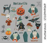 cute vector halloween patches... | Shutterstock .eps vector #1510949069