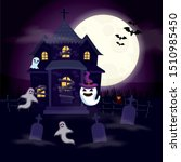 haunted house with ghosts in... | Shutterstock .eps vector #1510985450