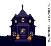 haunted house halloween with... | Shutterstock .eps vector #1510985540