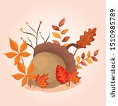 nut with leafs of autumn | Shutterstock .eps vector #1510985789