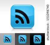 rss icon set blue color glossy...