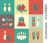 Vector vintage bowling icons