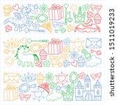hand drawn princess doodles.... | Shutterstock .eps vector #1511019233