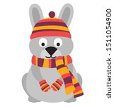Stock vector cute hare sitting on its hind legs hare wearing a knitted warm hat scarf and mittens vector flat 1511054900