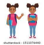 smiling school girl with book... | Shutterstock .eps vector #1511076440