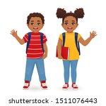 smiling school boy and girl... | Shutterstock .eps vector #1511076443