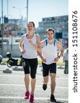 young sport couple jogging... | Shutterstock . vector #151108676