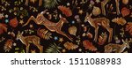 embroidery  deers and autumn... | Shutterstock .eps vector #1511088983