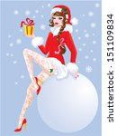 Brunette Pin Up Christmas Girl...
