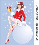 Brunette Pin Up Christmas Girl...