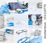 Collage of medical instruments and preparats - stock photo