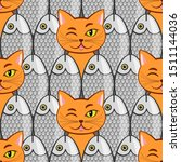 seamless with fish and  cats... | Shutterstock . vector #1511144036