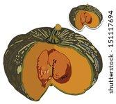 large pumpkin with seeds vector ... | Shutterstock .eps vector #151117694