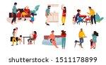family conflict. trendy cartoon ... | Shutterstock .eps vector #1511178899