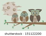 family owls sitting on a tree... | Shutterstock .eps vector #151122200