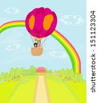 family flying a hot air balloon ... | Shutterstock .eps vector #151123304
