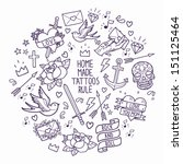 old school tattoo elements.... | Shutterstock .eps vector #151125464