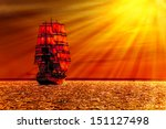 Sailing Ship On The Sea At...