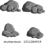 Set of gray granite stones of different shapes. Element of nature, mountains, rocks, caves. Minerals, boulder and cobble. Cartoon flat illustration