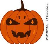autumn orange pumpkin jack with ... | Shutterstock .eps vector #1511302613