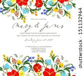 invitation or wedding card with ... | Shutterstock .eps vector #151132964