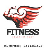 fitness emblem with muscular... | Shutterstock .eps vector #1511361623
