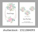 vector cards with flowers ... | Shutterstock .eps vector #1511384093