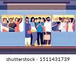 crowd in subway train. people... | Shutterstock .eps vector #1511431739