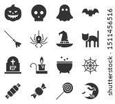 Halloween Black Icon Set. Glyp...