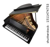 Grand Piano Top Arial View With ...