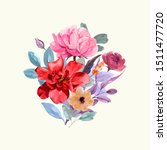 a bouquet of flowers with... | Shutterstock . vector #1511477720