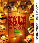halloween sale 50  off poster... | Shutterstock .eps vector #1511492990