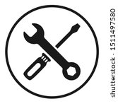 screwdriver and wrench icon in...