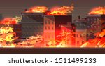 fire in burning buildings on... | Shutterstock .eps vector #1511499233