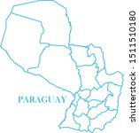paraguay map blue color vector | Shutterstock .eps vector #1511510180
