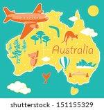 cartoon map australia | Shutterstock .eps vector #151155329