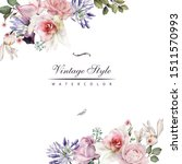 greeting card with roses ... | Shutterstock . vector #1511570993