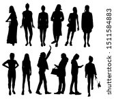 silhouettes of girls and women... | Shutterstock .eps vector #1511584883