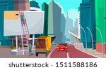 billboard installation flat... | Shutterstock .eps vector #1511588186