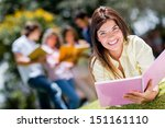 beautiful college girl studying ... | Shutterstock . vector #151161110