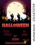 night halloween forest flyer... | Shutterstock .eps vector #1511672729