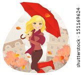 girl with umbrella in fall | Shutterstock .eps vector #151169624