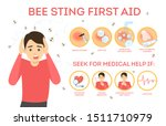 Bee sting first aid infographic. Remove sting from the skin, area in pain. Medical help. Isolated vector illustration in cartoon style