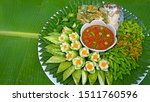 Stock photo  thai food fried mackerel with shrimp paste sauce nam prik kapi pla too fried egg with climbing 1511760596