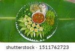 Stock photo thai food fried mackerel with shrimp paste sauce nam prik kapi pla too fried egg with climbing 1511762723