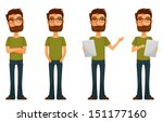 cute cartoon guy with beard and ... | Shutterstock . vector #151177160
